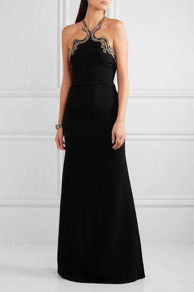 Roberto Cavalli - Open-back Embellished Stretch-crepe Halterneck Gown - Black - IT