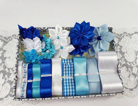 Blue creative ribbon kit blue assorted ribbons satin ribbon