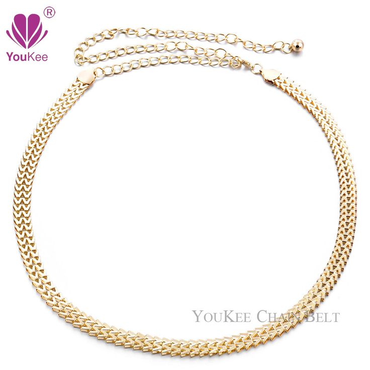 Sexy Chain Belt For Women Gold Plated Thin Waistband Metallic Gold Belt Body Chain Accessories Women's Belt (BL-454) YouKee Belt