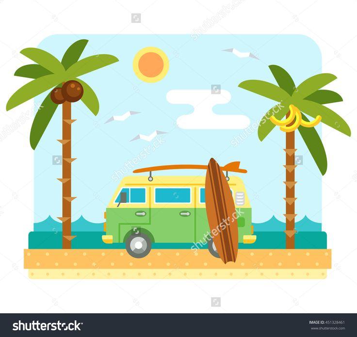 Surf van on beach. Flat scene with camper van, sea, send, surfboard and palm tree.