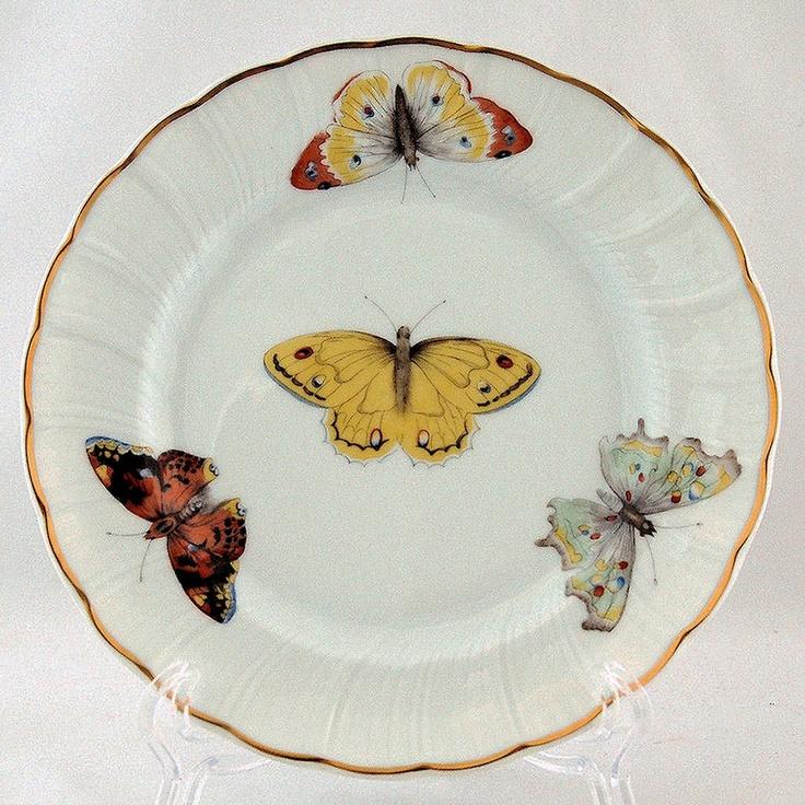 Bernardaud b co limoges france butterfly plates vintage set of 6 home decor vintage by - Jardin mediterraneen limoges ...