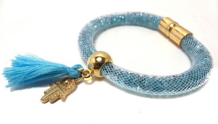 Light Blue Crystal Tube Bracelet With Tassle & Fatima Hand Charm