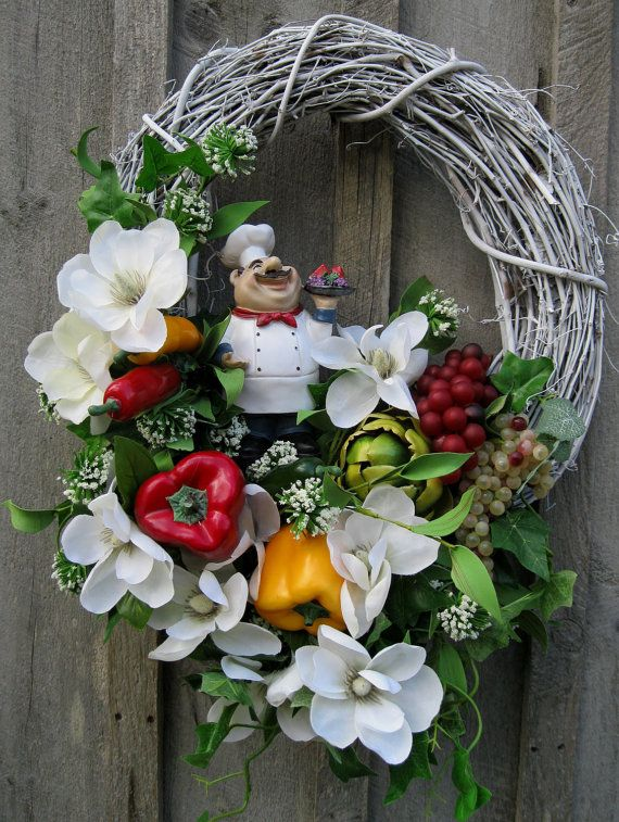 Floral Wreath, Kitchen Decor, Italian Chef, Cottage Chic  Magnolias, Fruits,Vegetables