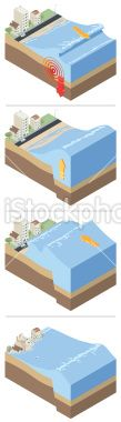 Isometric tsunami Royalty Free Stock Vector Art Illustration