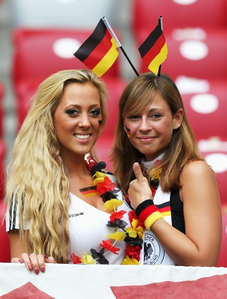 German fans soak up the pre match atmosphere during the UEFA EURO 2012 semi final match between Germany and Italy