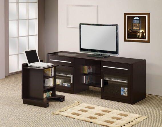 "Contemporary Cappuccino Connect It Computer: Espresso Finish Wood 24"" H TV Stand Entertainment Center"