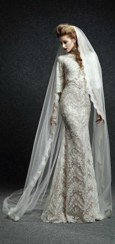 stunning lace wedding dress by Ersa Atelier | Bridal Musings Wedding Blog