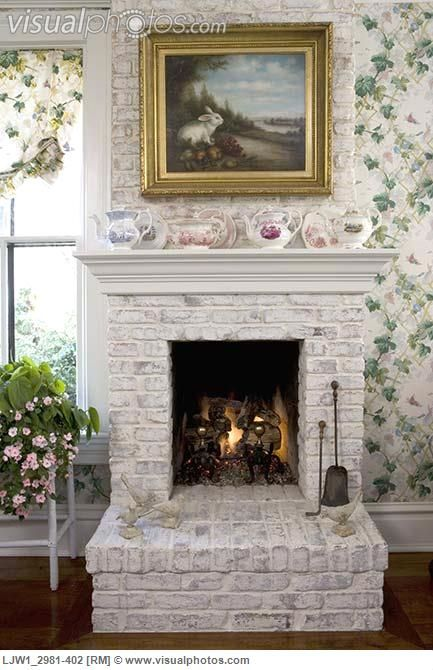 White Washed Fireplace Fireplaces Pinterest White