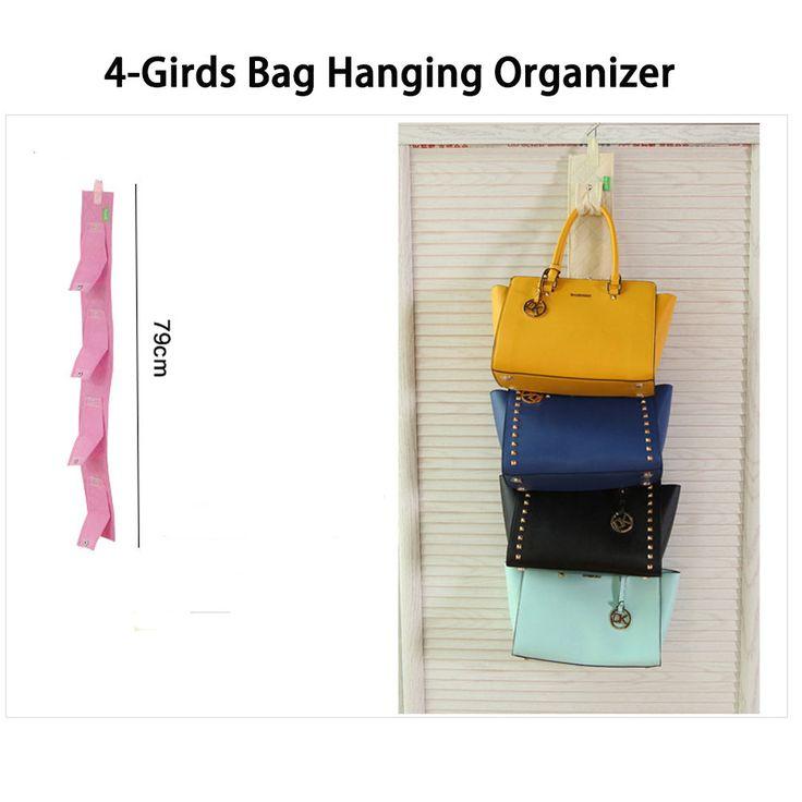 4 Bags Single Sided Handbags Hanger Holder Purse Organizer Closet Storage Rack #Organizer