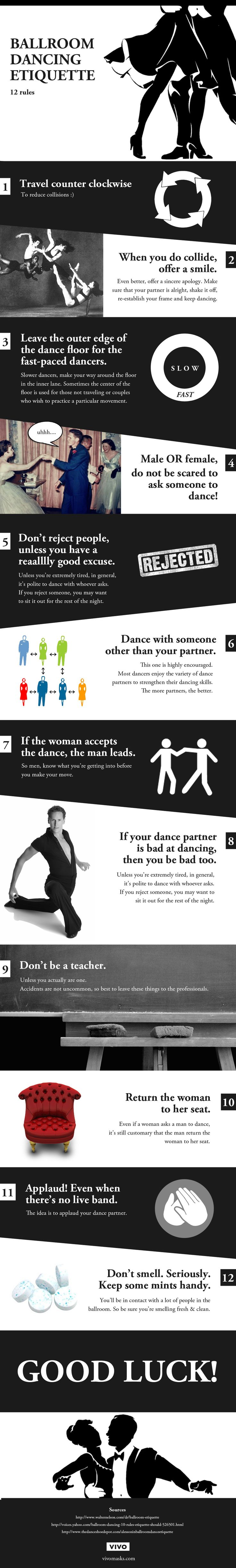 """This fun image describes the """"12 rules"""" for ballroom dancing, or the etiquette that should be followed. This is great to use to introduce dance etiquette in the classroom to new dancers or those without ballroom dance experience. It explains the rules in a fun manner, rather than a dry """"this is what to do"""" way."""