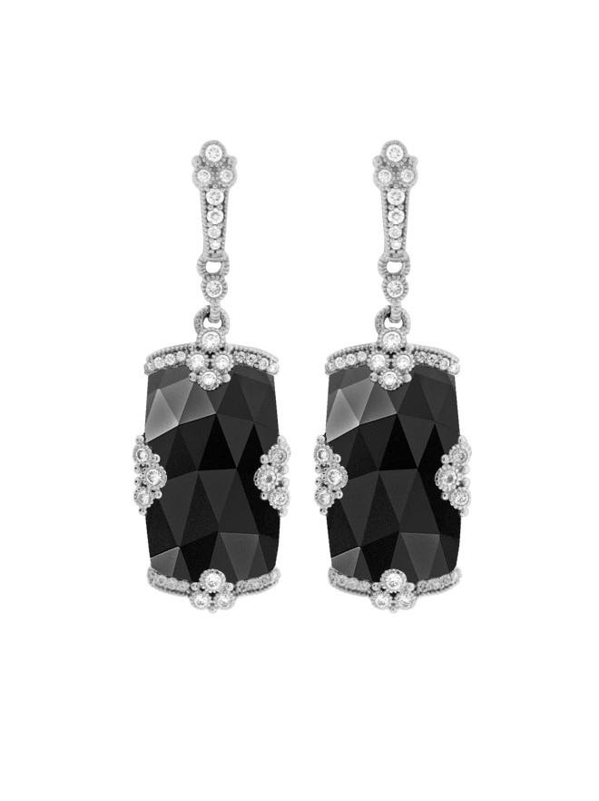 Judith Ripka 18K White Gold Black Onyx and Diamond Drop Earrings.