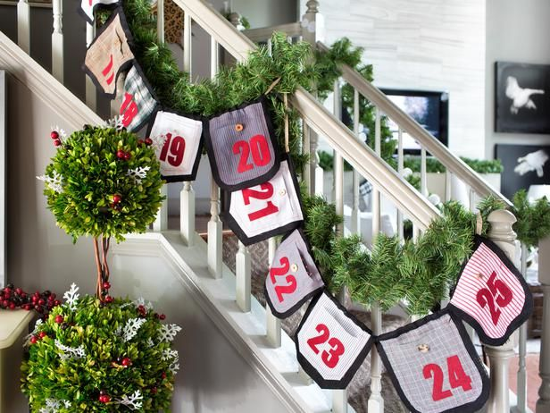 #Repurpose old shirts into Advent Calendar Garland>> http://www.hgtv.com/handmade/upcycle-mens-shirts-into-an-advent-calendar-garland/index.html?soc=pinterest