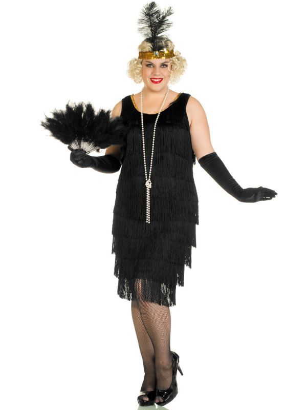 1920\'s Miss Millie Long Black Plus Size Flapper Costume in ...