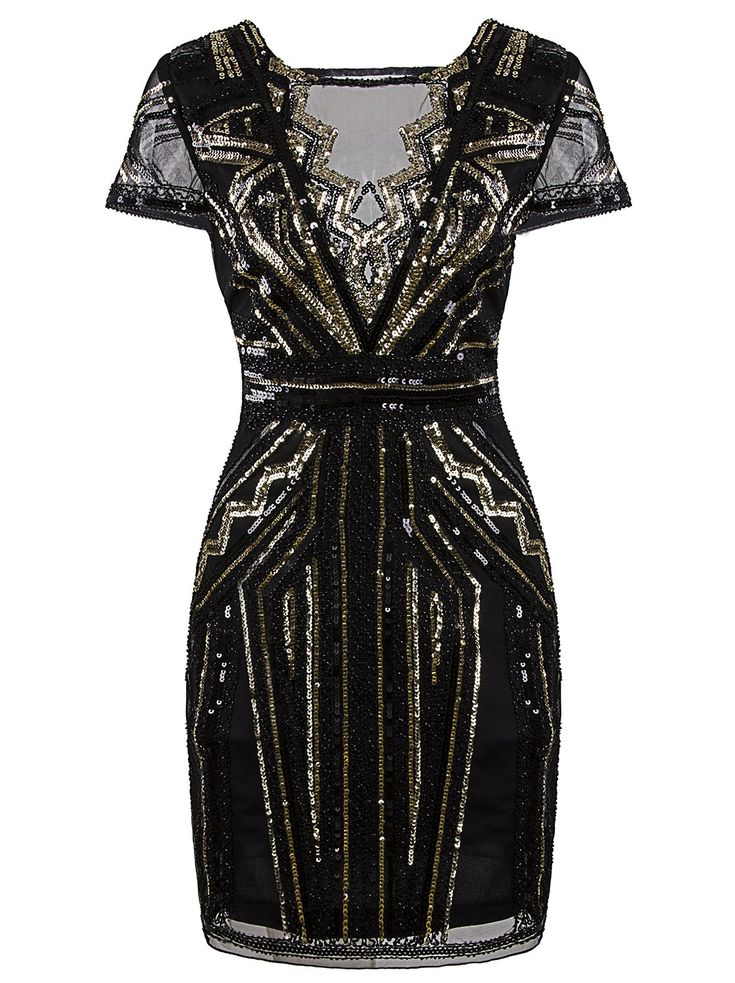 Vijiv 1920s Short Prom Dresses V Neck Inspired Sequins Cocktail Flapper Dress,Large,Gold Glam
