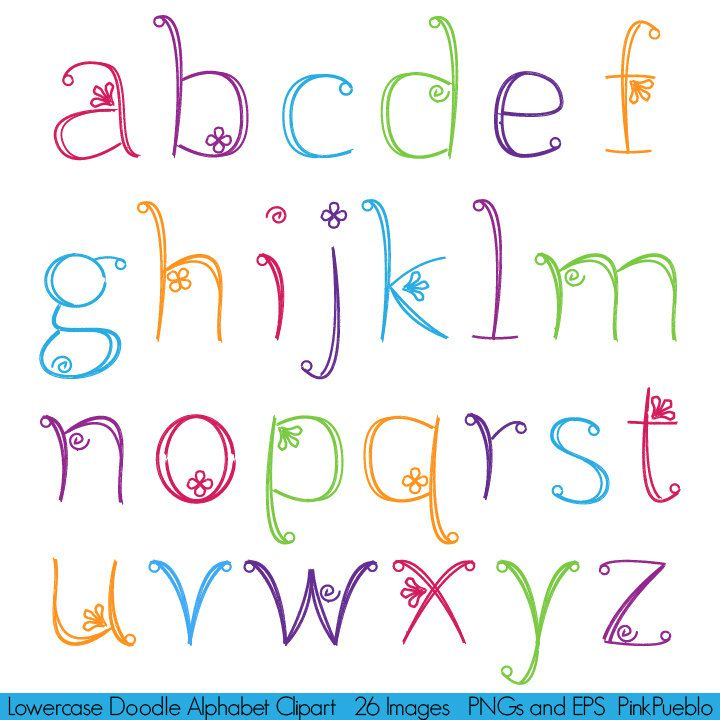 Doodle Alphabet polices Girly dessinés à la main par PinkPueblo