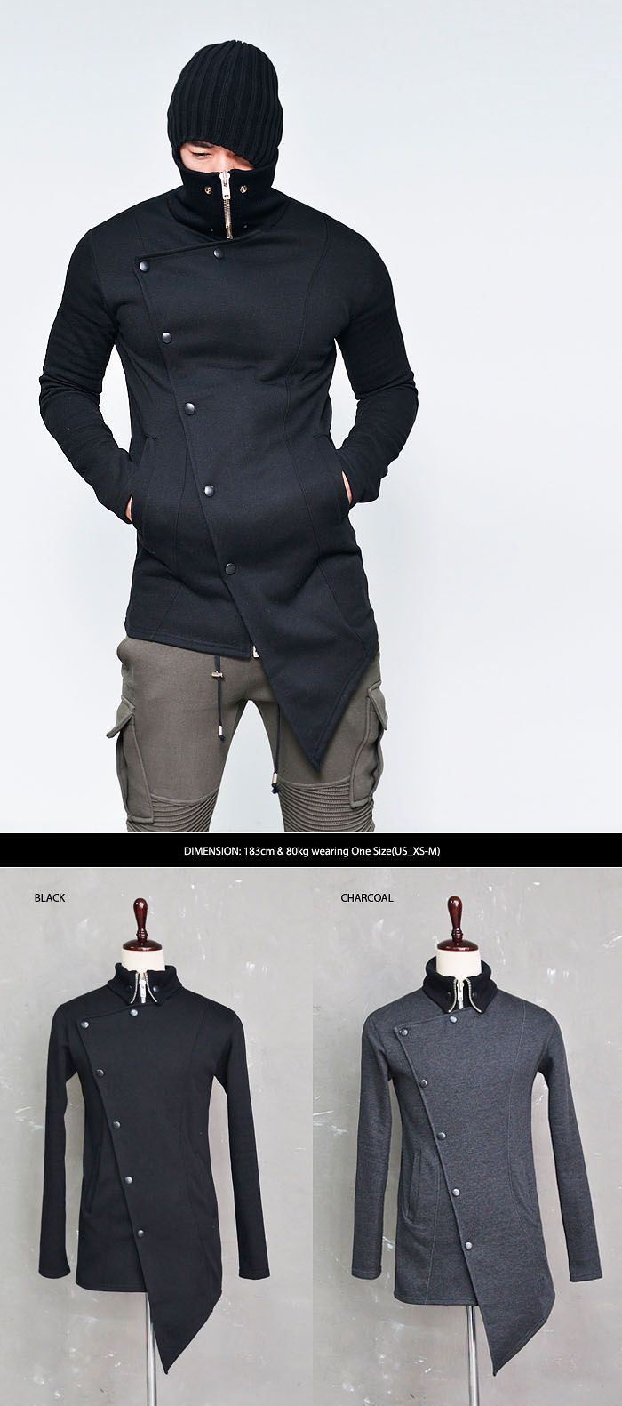 Outerwear :: Diagonal Unbalance Fleece Turtle Zip Up-Jacket 120 - Mens Fashion Clothing For An Attractive Guy Look