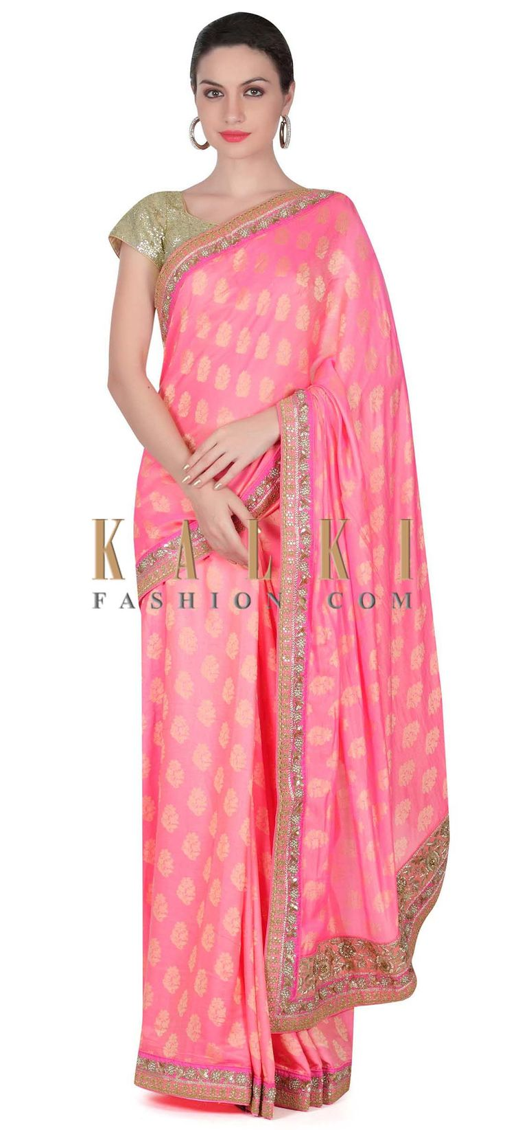 Buy this Pink weaved saree with kundan border only on Kalki