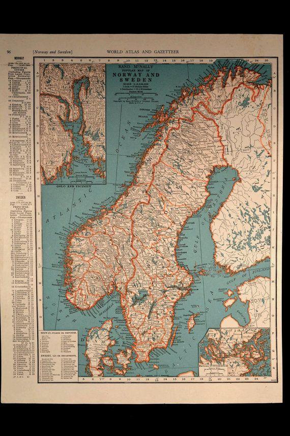 Norway Map Sweden Map Vintage 1940s Original