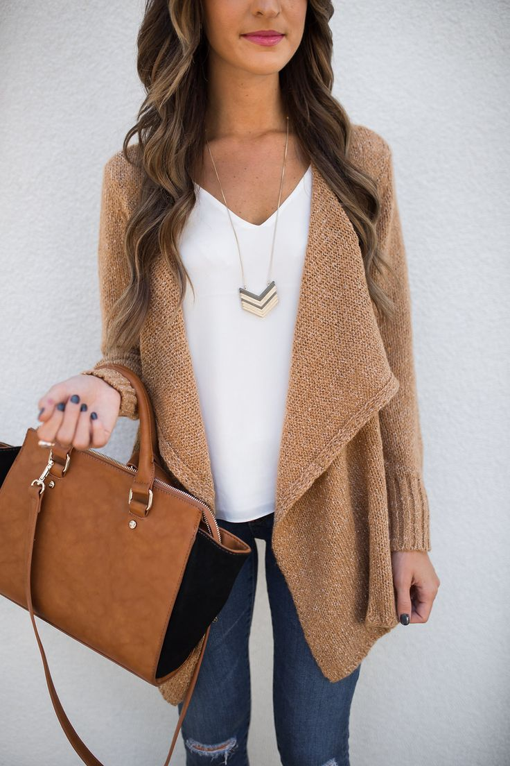 Sharing my favorite cardigans for fall, and my obsession with this drape front camel cardigan in particular!