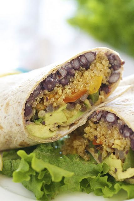 Southwestern Quinoa Wrap - high in protein, perfect lunch idea  and low carb (I have a TON of this stuff I gotta figure out how to use!  PLUS I read a tip to toast it before cooking it to give it a more nutty flavor- I'll have to try these tips!)