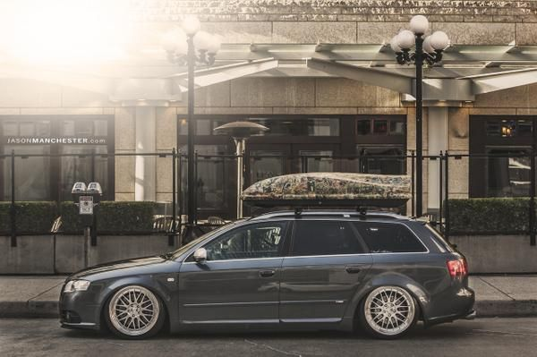 Justin McLean's #Audi B7 A4 Sline Avant on Bagriders suspension and BBS LM wheels.