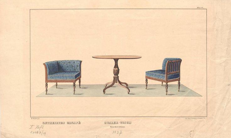 "getheiltes canapé. ovaler tisch"", blatt 18 aus dem 10. heft der, Esstisch ideennn"