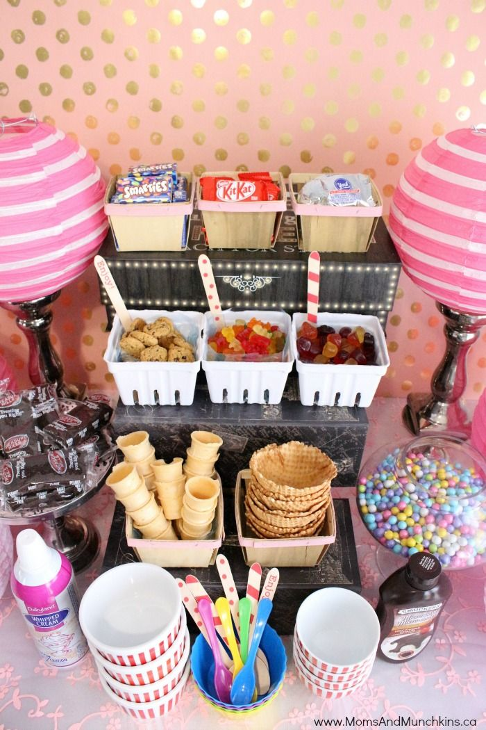 These ice cream buffet ideas are perfect for a summer party! Who can turn down a delicious bowl of ice cream loaded with your favorite candies?!