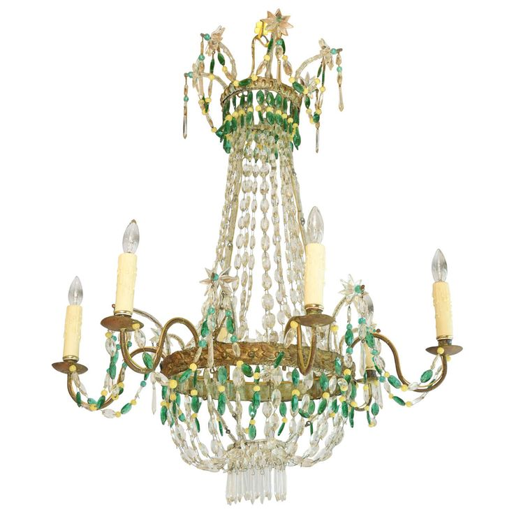 Italian Empire-Form Chandelier with Emerald and Citrine Colored Crystals at 1stdibs
