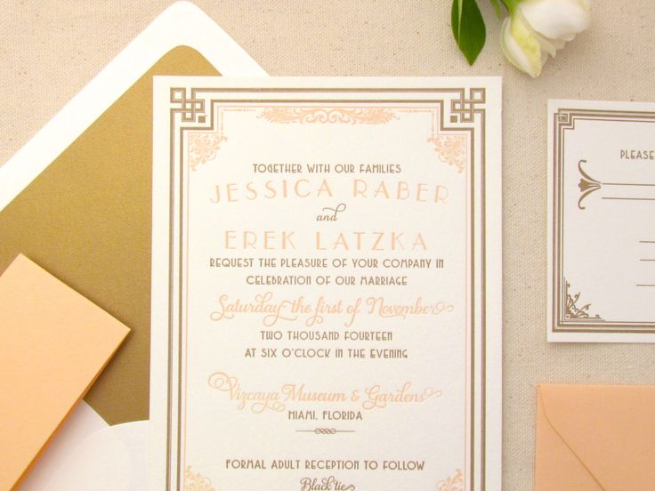 The Daisy Suite - Letterpress Wedding Invitation Suite - Art Deco, Gatsby, Formal, Roaring Twenties, Peach, Gold, Orange, White, Bling by DinglewoodDesign on Etsy https://www.etsy.com/listing/173870264/the-daisy-suite-letterpress-wedding