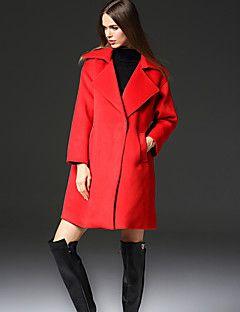 frmz iş simplesolid yakasını doruğa uzun kollu kış kırmızı taklit kürk / polyester orta