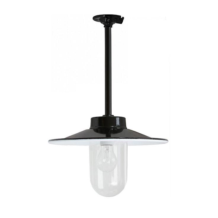 Franse stallamp plafond. DeJaren30Fabriek.nl uw specialist in klassieke buitenverlichting,, Bakeliet schakelmateriaal, Industriele hanglampen.