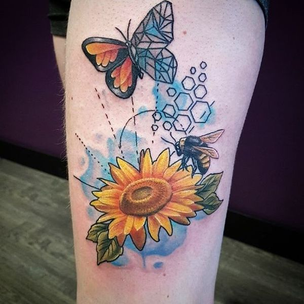 Beauteous Geometric Sunflower Butterfly And Bee Tattoo Tattoo