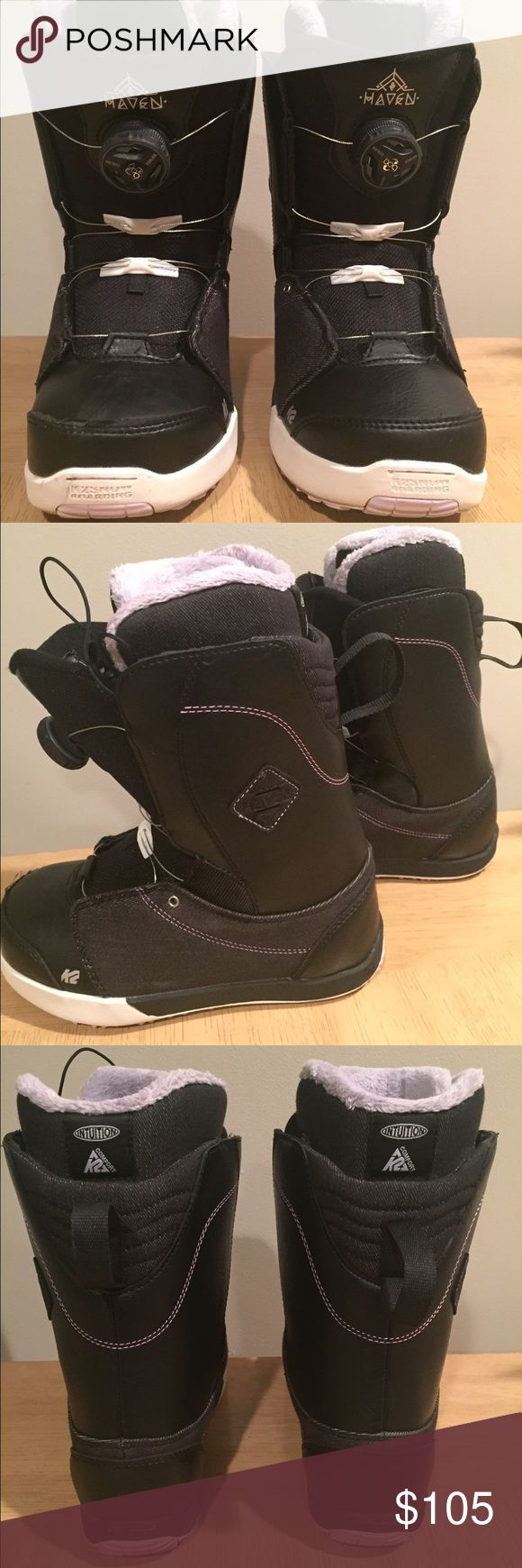K2 Haven Women's Black Boa Snowboard Boots Excellent condition, worn twice for a few hours. Women's size 5, also fits youth/kids size 3/3.5. Original price: $199.95 K2 Shoes Winter & Rain Boots