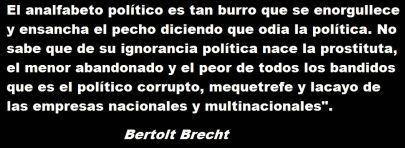 frase de Bertolt Brecht, filósofo, poeta y dramaturgo alemán