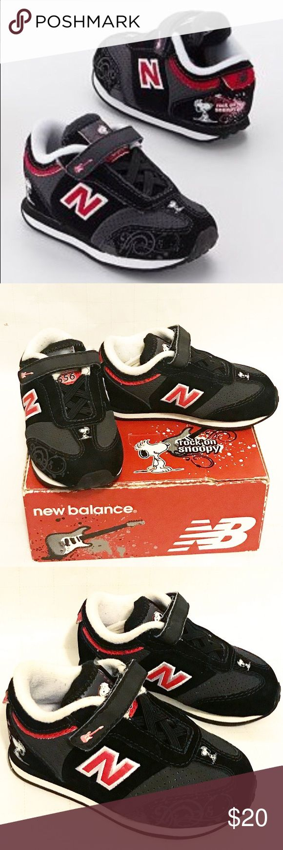 New Balance Peanuts Snoopy Sneakers New Balance Rock On Snoopy Sneakers. Has a Velcro strap, No lacing required. Toddler size 6 Wide. New Balance Shoes Sneakers