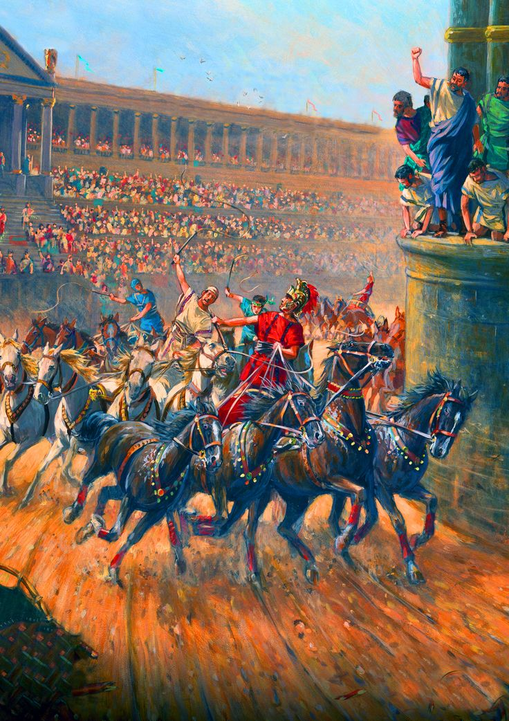 Roman Qaadriga chariot race in Circus Maximus- by Mark Churms