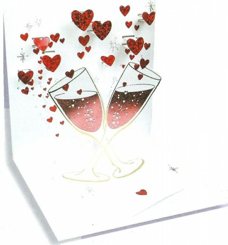 Valentijn - Pop up Wenskaart - POP662 Champagne Romance   Valentijn   kaartfanaat
