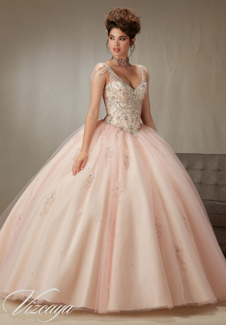 Quinceanera Dress Vizcaya Morilee 89065 Beading and embroidery on a tulle ball gown with chandelier crystal sleeves Colors:Blush/champagne