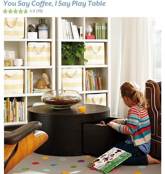 Charming Land Of Nod Coffee Table And Shelves