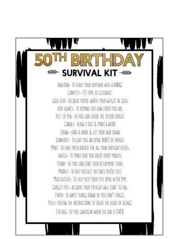 50th Birthday Survival Kit Birthday Survival Kit Moms