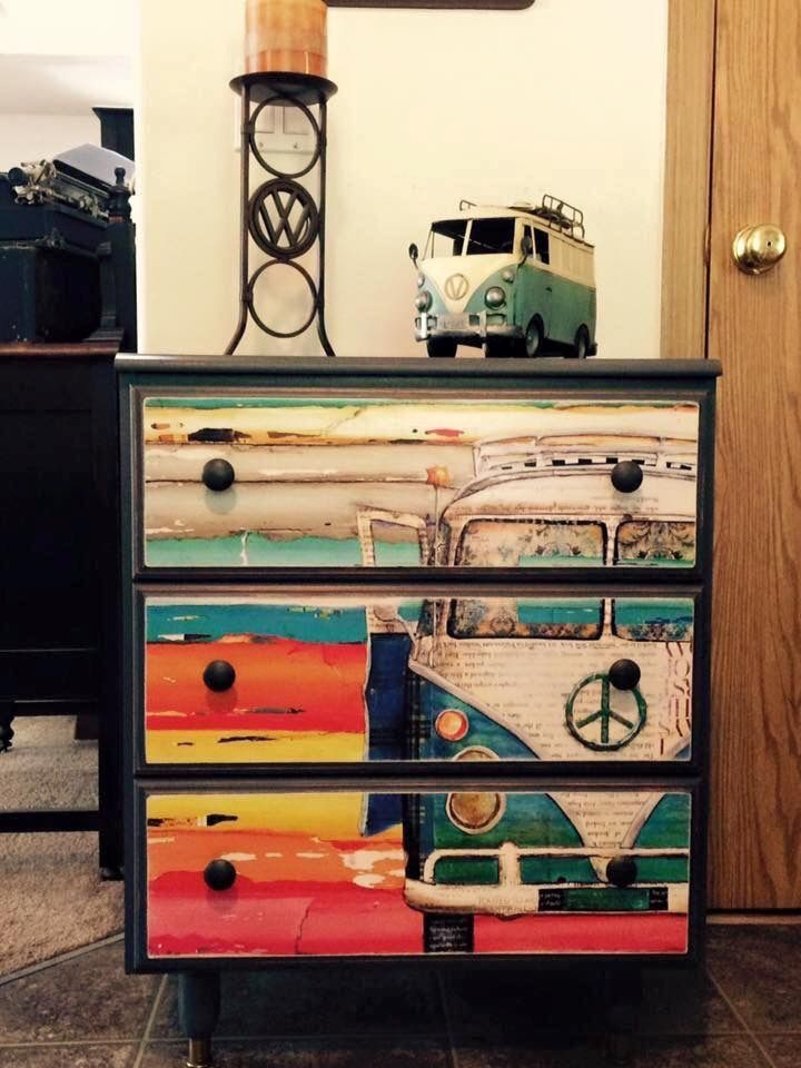 Decoupage drawers using poster.