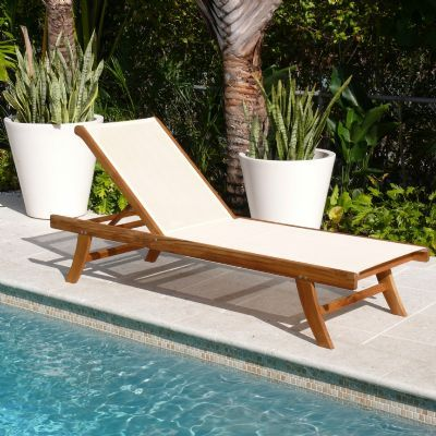 Teak Outdoor Chaise Lounge with Ivory Mesh Sling  Wood
