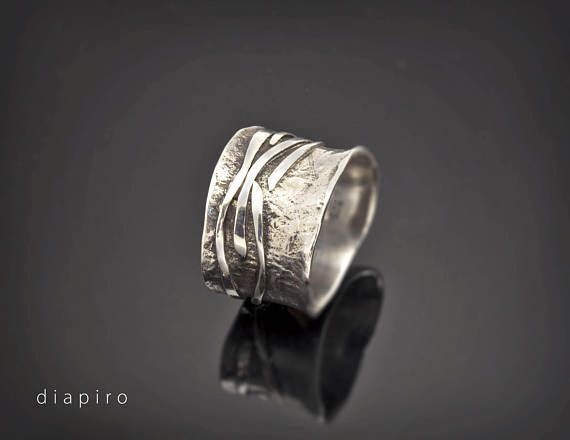Sterling Silver Ring Handmade Chunky Textured Wide