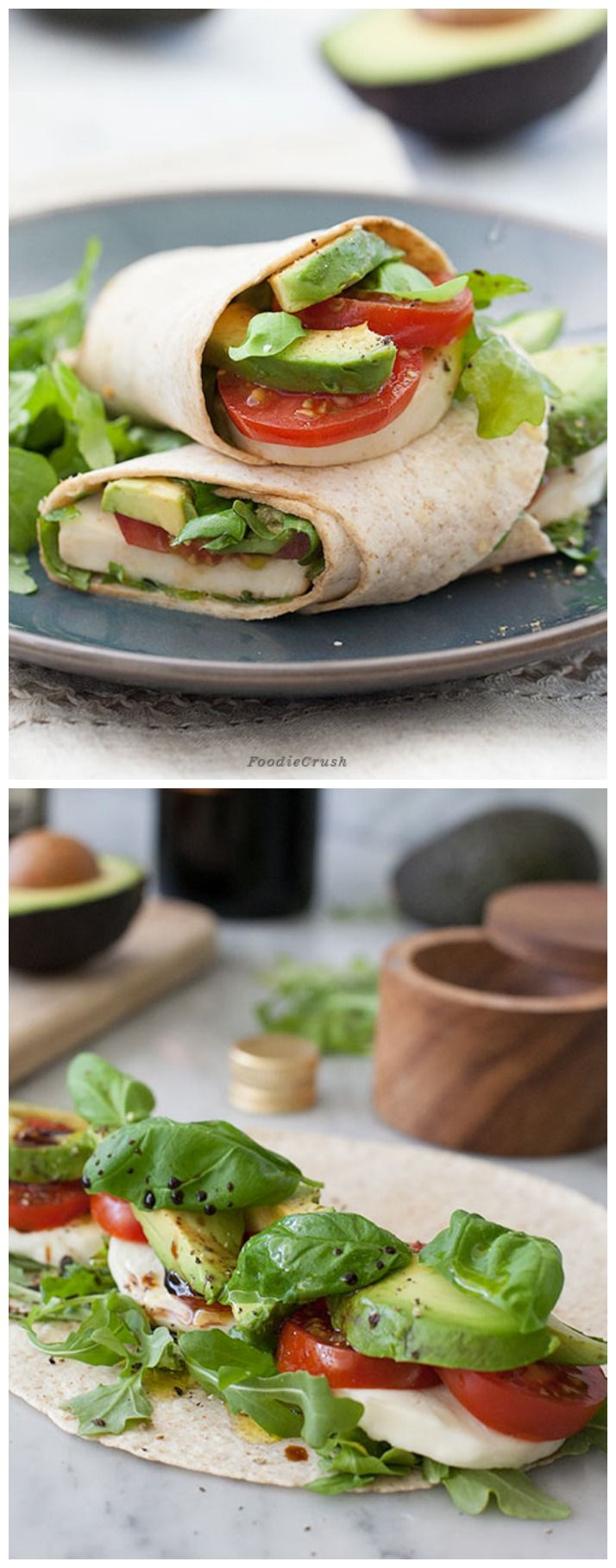 Mozzarella, Tomato and Avocado Caprese Wrap #recipe on foodiecrush.com