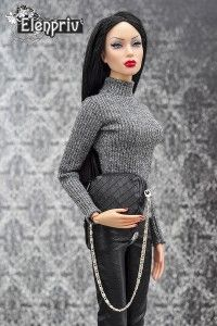 Gray jersey poloneck top for Sybarite on Gen X body dolls and similar body size dolls