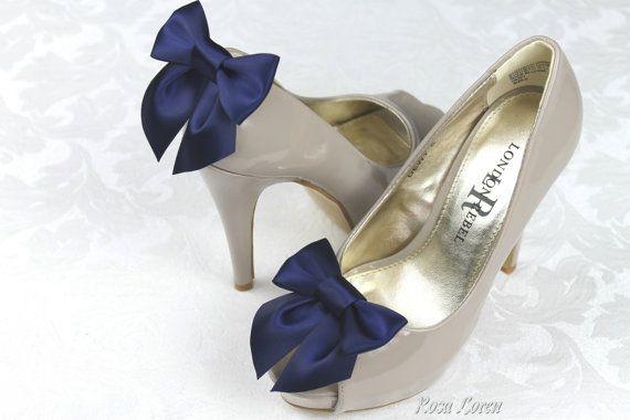 Clips chaussures marine, bleu marine Bow chaussures Clip, Clip de chaussure de mariage bleu foncé, mariage nautique