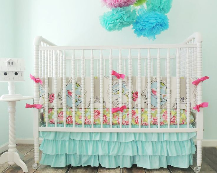 We love the darling prints and sweet design of @Tushies And Tantrums' nursery decor! #PNapproved: Pink Cribs Beds, Beauty Birds, Baby Things, Baby Girls, Baby Rooms, Girls Nurseries, Boutiques Cribset, Baby Stuff, Baby Nurseries