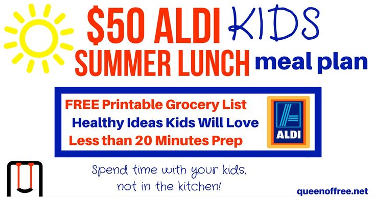 Download a $50 Aldi Kids Summer Meal Plan that includes a printable grocery shopping list, links to recipes, and gluten-free suggestions.