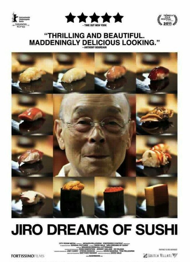 """""""Jiro Dreams of Sushi"""" is a moving documentary about a master sushi chef that ends up being about much more than sushi. The film explores the arc of a life spent relentlessly pursuing a passion through hard work and dedication. Inspirational!  """"Always doing what you are told doesn't mean you will succeed in life."""" (Jiro)"""