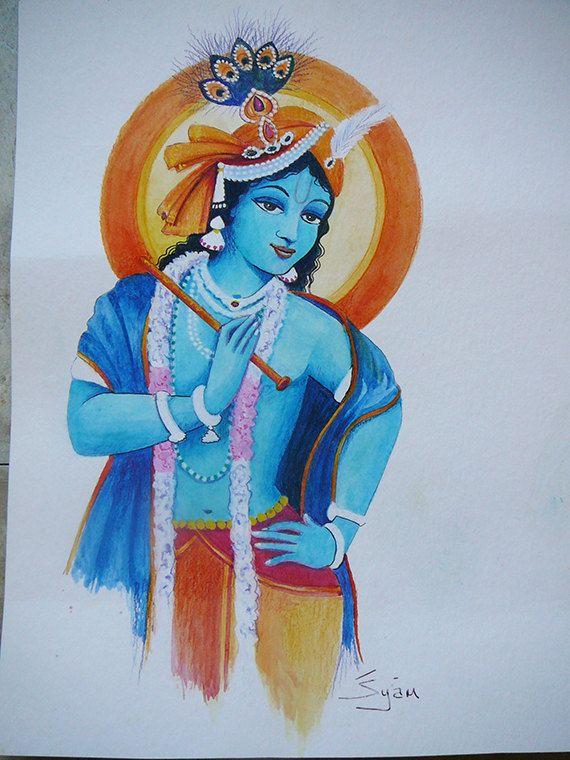 Krishna with flute watercolour painting hindu India original painting syamarts bhakti yoga blue white yellow portrait spiritual golden age